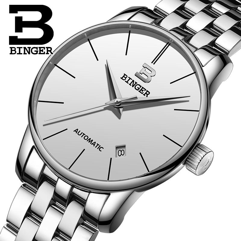 Switzerland BINGER men's watch luxury brand Relogio Masculino water resistant Stainless steel Mechanical Wristwatches B-5005M