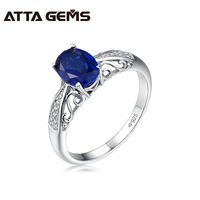 Attagems 925 Silver Rhodium Plated OVAL 8 6mm Blue Sapphire Loyal Rings For Men Gift Sapphire