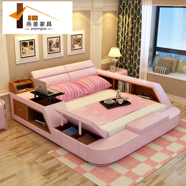 Bedroom Furniture China Leather Bed Tatami Bed Minimalist Modern Double Bed  Width Includes 1.5 Meters U0026