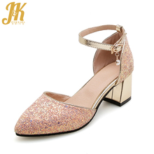 1d197e620022ac JK 2018 New Summer High Heels Sandals Women Pointed Toe Bling Pearl  Footwear Fashion Bridal Ankle