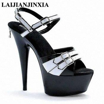 LAIJIANJINXIA Women Wedding Party Dancing Shoes Nightclub 15cm High Heels Sexy Thick Platform Strap Sandals Pole Dance Shoes
