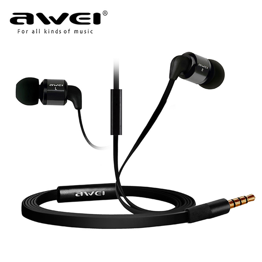 Awei Headset Headphone In-Ear Earphone For Your In Ear Phone Bud iPhone Samsung Smartphone Earpiece Earbud With Microphone Mic mini wireless in ear micro earpiece bluetooth earphone cordless headphone blutooth earbuds hands free headset for phone iphone 7