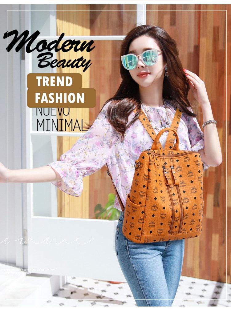 Women Fashion PU Backpack Girls Soft Leather Printed Shoulder Bag Ladies large fashion female Bagpacks for School Teenager Brown (1)