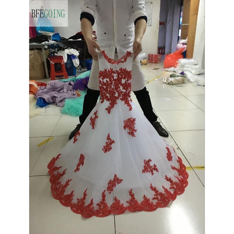 Robe de bal robe de demoiselle d'honneur Tulle blanc rouge/rubis Appliques Scoop robe de soirée sans manches sur mesure