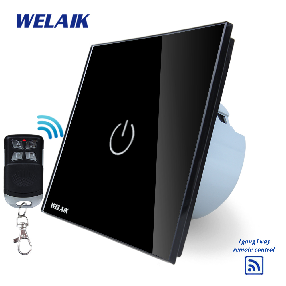 WELAIK Glass Panel Switch black Wall Switch EU remote control Touch Switch Screen Light Switch 1gang1way AC110~250V A1913BR01 makegood eu standard smart remote control touch switch 2 gang 1 way crystal glass panel wall switches ac 110 250v 1000w