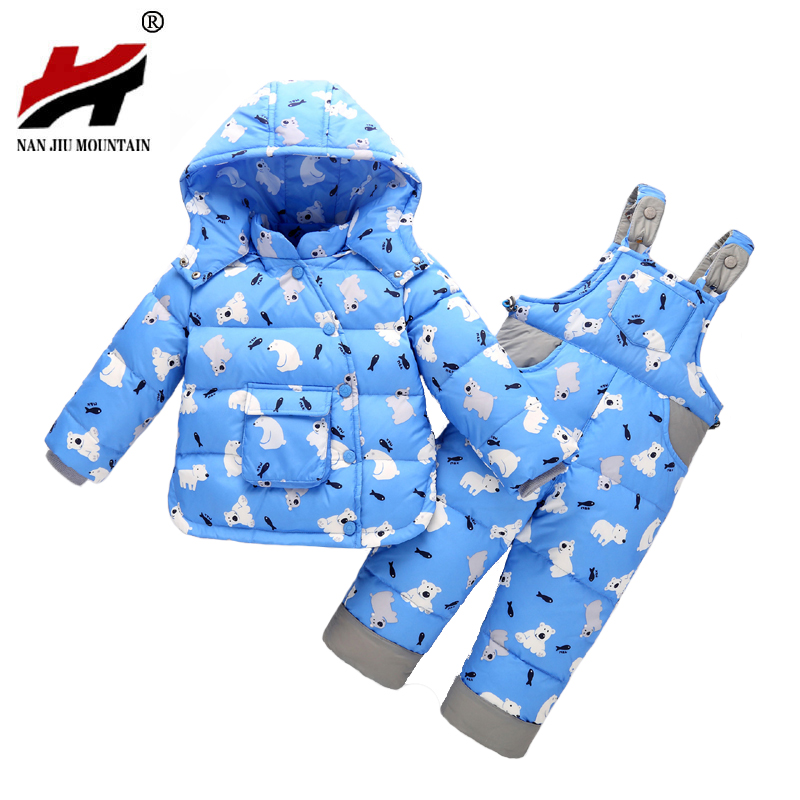 2017 Winter Children Clothing Set Russia Baby Girl Ski Suit Sets Boy's Outdoor Sport Kids Down Coats Jackets+Trousers -30degree 30degrees winter baby clothing set russia baby girl ski suit sets boy s outdoor sport kids down coats jackets trousers fur