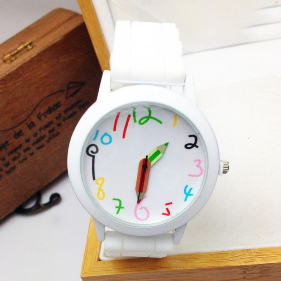 Unisex watches Women new fashion Silicone Quartz Sports Style bracelets Jelly Wrist Watch girls cute lovely word draws clock A80
