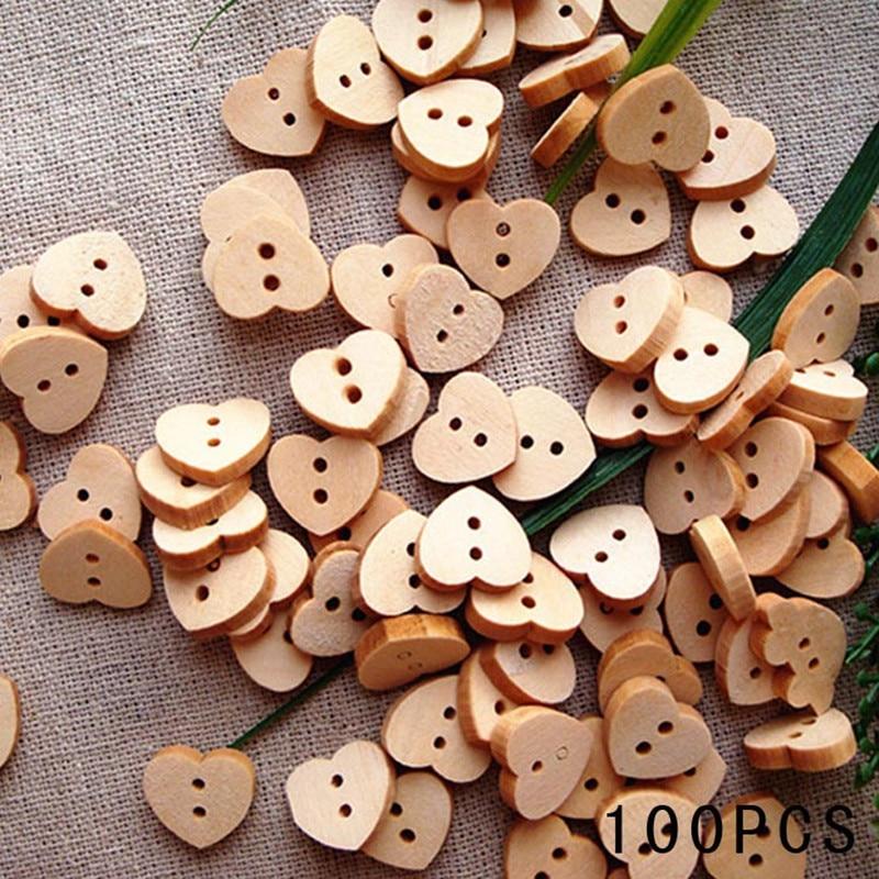 לחצני תפירה טבעיים קרפט 100 יח'\חבילה אופנה בצורת לב כפתורי עץ 2 חורים סקראפבוקינג מכירת מוצרים חמה