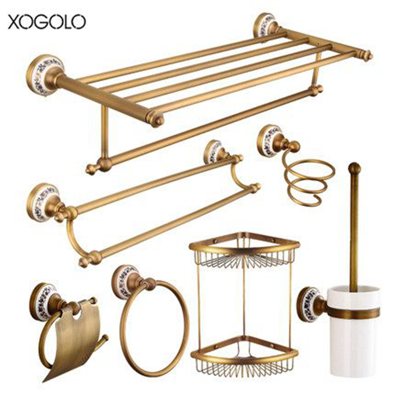 Xogolo Modern Style Antique Bathroom Hardware Sets Brushed Accessories Wall Mounted Paper Towel Holder Bath Towel Bar Rack aluminum wall mounted square antique brass bath towel rack active bathroom towel holder double towel shelf bathroom accessories