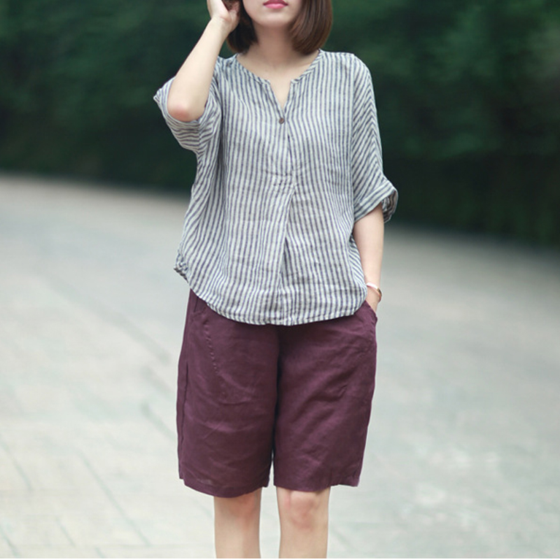 c0d88a34dae Johnature Women Striped Shirts 2019 Summer New Batwing Sleeve Casual Blouses  Linen Japanese Blouse Loose Vintage Simple Top-in Blouses   Shirts from  Women s ...