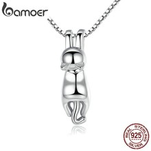 BAMOER High Quality Smooth 925 Sterling Silver Lovely Cat Long Tail Necklaces & Pendants S925 Fine Jewelry SCN032(China)