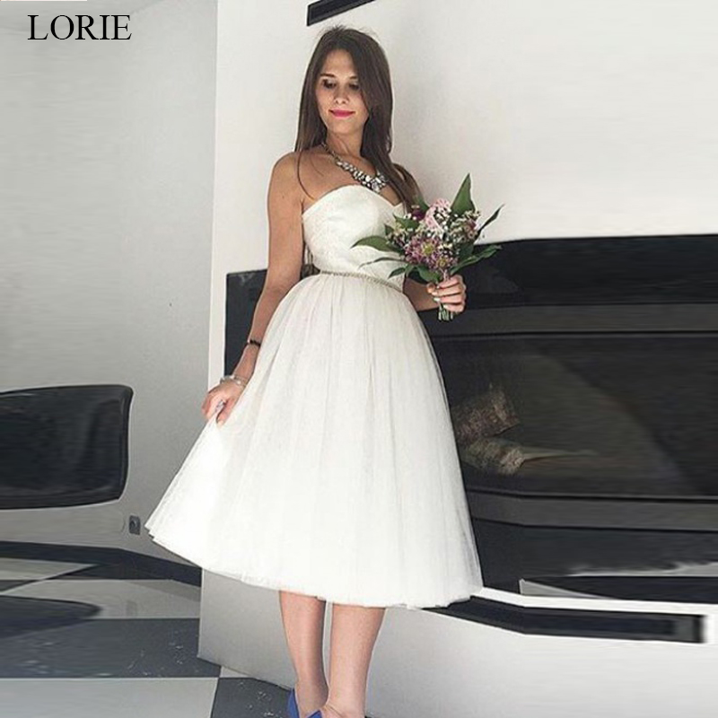 4a86e47f76d LORIE plage robe de mariée 2019 Mini mariée GownTulle robe vestido de noiva  sur mesure blanc