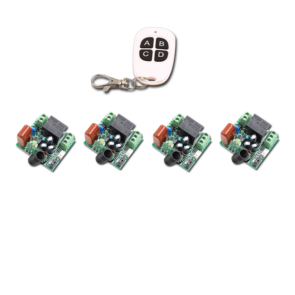 A B C D Key Mini AC220V 1CH RF Wireless Remote Control Switch System 4CH Transmitter + 4Receivers Toggle/Momentary 315/433mhz 315 433mhz 12v 2ch remote control light on off switch 3transmitter 1receiver momentary toggle latched with relay indicator