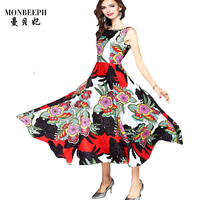 2017 New TOPABOVE Dresses Print High Waist Bohemian LONG Dress Summer Spring Womens Sleeveless Tank A