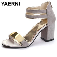YAERNI Ladies Ankle-Wrap Shoes Summer Gladiator Sandals Women Square heel Sandals Party Wedding Shoes Bling Bling Ladies Sandals(China)