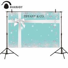 Allenjoy חתונה רקע טיפאני כחול מבריק גליטר כלה מקלחת יהלומים מתנת Bowknot רקע Photophone שיחת וידאו בד