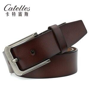 Image 2 - Catelles Mens Genuine Leather Belt Male Belts Buckle for Men Designer Belts High Quality Leather Belt/Strap Man Pin Buckle 1935