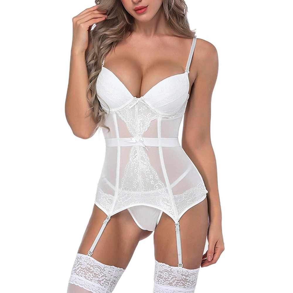 Women Lingerie Fashion White Bustier Corset Sexy Girdle Waist Cincher Woman Erotic Sexy Lingery Baby Doll Mujer