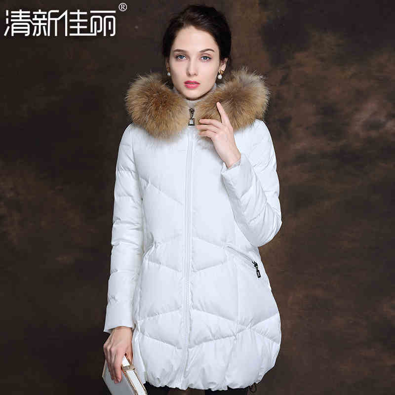 2015 New Hot Winter Thicken Warm Woman down jacket Coat Parkas Outwewear Hooded Raccoon Fur collar Mid Long Plus Size 2XXL Loose