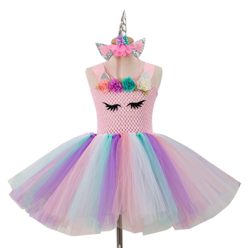 cb47a7ba8ce0 Pastel Rainbow 3D Flower Children Birthday Party Dress Up Kids Girls ...
