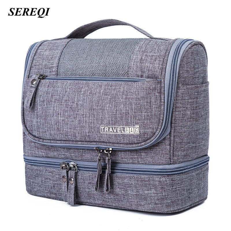 SEREQI Toiletry Storage Bag Travel Women Cosmetics Bag Waterproof Oxford Organizer For Wet And Dry Separation Makeup Kit For Men