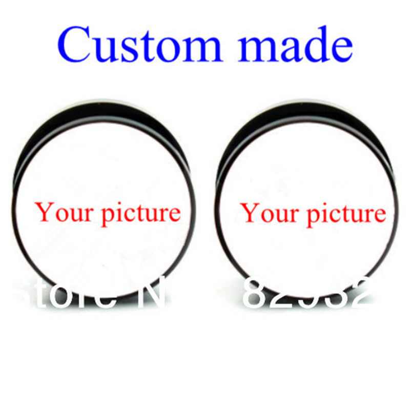 Factory Custom Made Black Acrylic Screw Flesh Tunnel Ear Plug Gauges 60pcs/lot for 10 sizes 6mm-25mm A0000