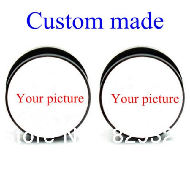 Factory Custom Made Black Acrylic Flesh Tunnel Ear Plug Gauges 60pcs Lot For 10