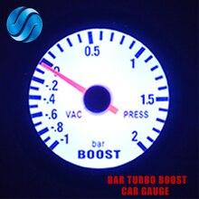 """DRAGON автомобильный измерительный прибор """" 52 мм Бар турбо Boost Gauge-1~ 2 бар/-30~ 30 фунтов/кв. дюйм вакуумный пресс-метр для авто синий светильник корпус черного обода"""