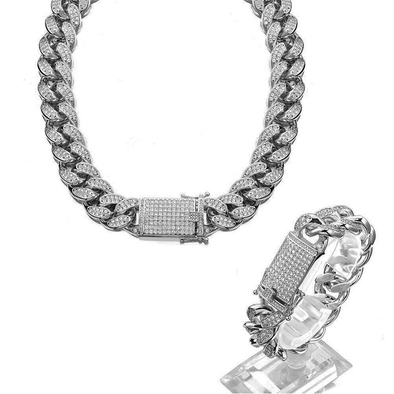 1beaf016686e2 18mm Hip Hop Stainless Steel Iced Out Fully CZ Mens Silver Miami Cuban Link  Chain Necklace Bracelet cz Male Jewelry set