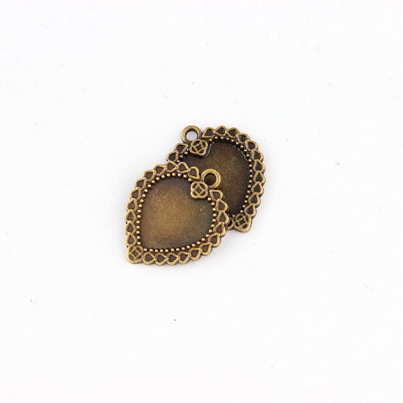 5pcs 14*14mmAntique BroznePlated Heart Necklace Pendant Setting Cabochon Cameo Base Tray Bezel Blank Jewelry Findings&components jewelry findings & components findings jewelrycomponents pendant - AliExpress