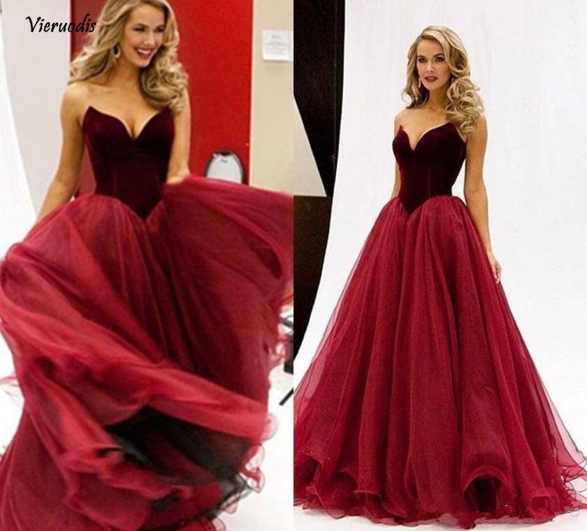 83-1           Burgundy 2019 Prom Dresses A-line V-neck Organza Velvet Plus Size Elegant Long Prom Gown Evening Dresses Robe De Soiree
