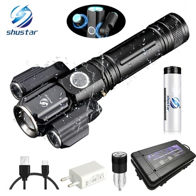 변형 가능한 led 손전등 슈퍼 밝은 토치 1t6 + 2xpe zoomable 4 조명 모드 캠핑, 사냥을위한 18650 배터리로 구동