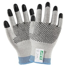 Anti Cut Work Gloves 100% HPPE With Nitrile Finger Dipped  Nitrile Dots Cut Resistance Work Gloves