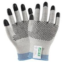 Anti Cut Work Gloves 100% HPPE With Nitrile Finger Dipped  Nitrile Dots Cut Resistance Work Gloves цена в Москве и Питере