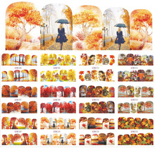 Nail Decals, Water Slide Transfer Stickers for Fall Leaf  12Patterns Decals Art Big Sheet