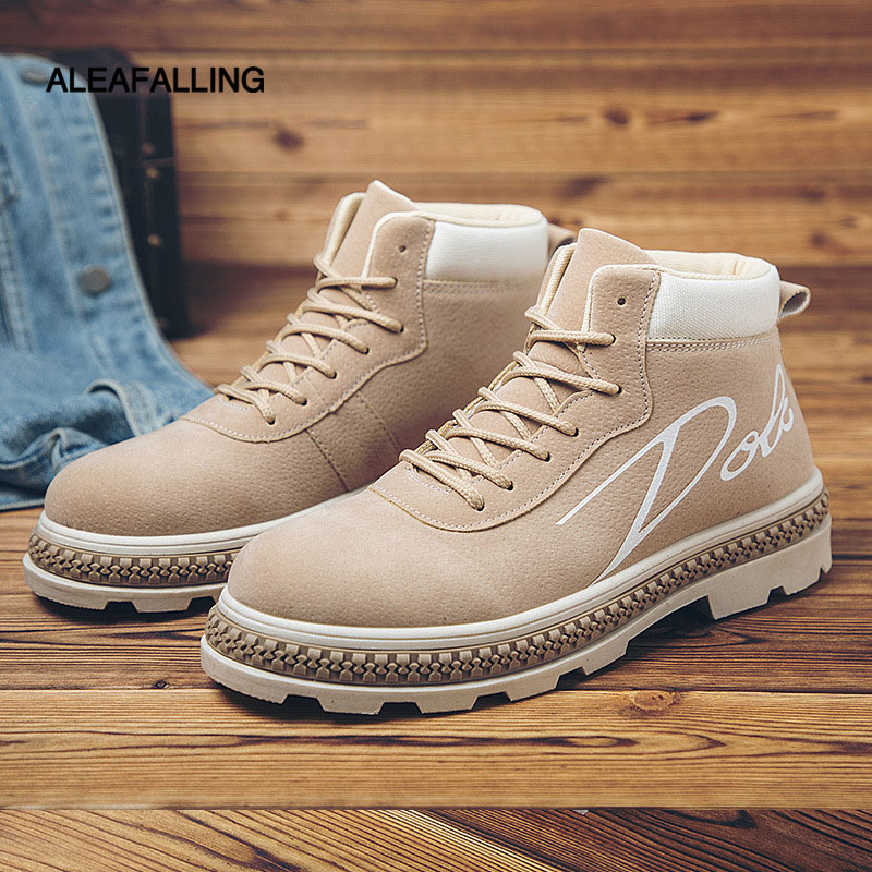 Aleafalling Classcial Outdoor Men Shoes Canvas Sneakers Male High Mature Boots Street Fashion Trend Ankle Motorcycle Boots Mbt30 Men's Boots Shoes