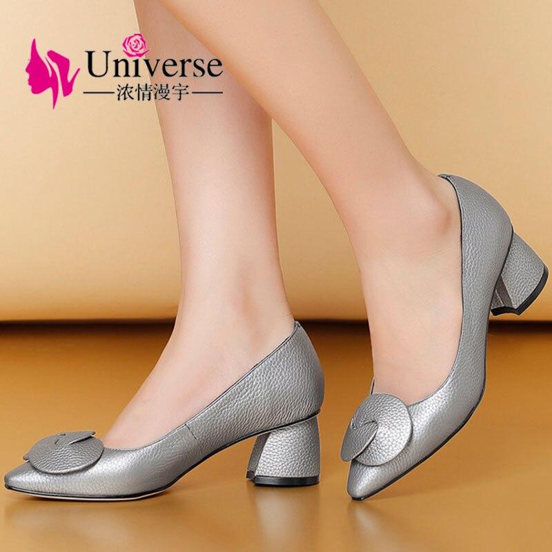 """Mujeres talla grande cuero genuino elegante bombas universo 4,5 9 negro plata grueso tacones altos 1,97 """"zapatos vestido punta G028-in Zapatos de tacón de mujer from zapatos    1"""