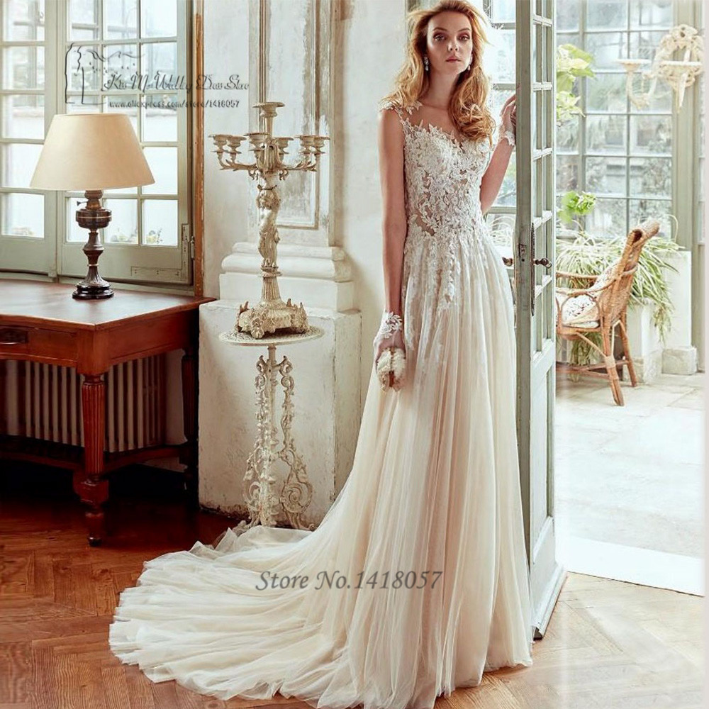 Aliexpress Buy Champagne Boho Wedding Dress Made In China Cheap Wedding Gown A Line Lace
