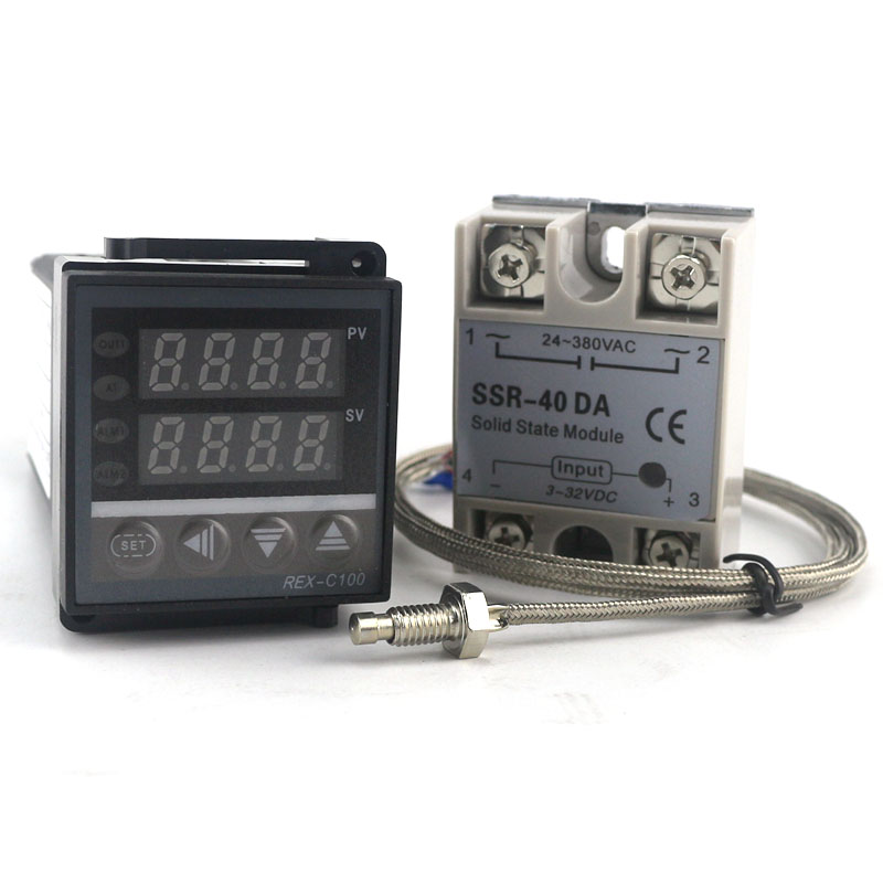 Dual Digital PID Temperature Regulator Controller REX-C100 SSR Output with Thermocouple K, SSR 40A , SSR-40A