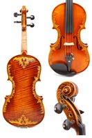 4/4 Violin One piece Tiger Flame maple Spruce wood Hand Carved Pattern Master level #GY15