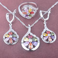 2017 New Multicolor Cubic Zirconia Women's Stamped 925 Silver Jewelry Sets Necklace Pendant Earrings Rings Free Shipping TZ070