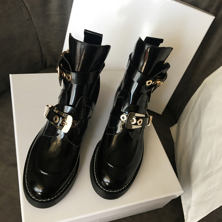 Ins Hot Spring Autumn Shoes Woman Genuine Leather Ankle Boots Metal Buckle Hollow Motorcycle boots Woman Runway Superstar Boots 2018 new spring summer shoes woman ankle hollow boots metal buckle genuine leather mortorcycle boots low thick heel women shoes