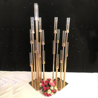 10PCS Flowers Vases Candle Holders Road Lead Table Centerpiece Gold Metal Stand Pillar Candlestick For Wedding Candelabra G04902