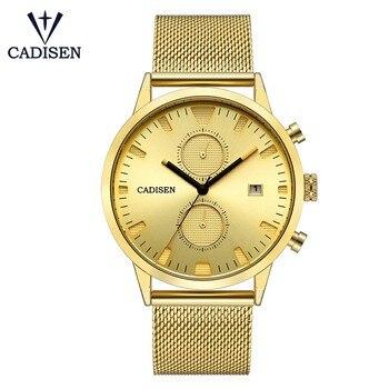 CADISEN Üst Mens Watch lüks moda iş kronograf tarih ekran suya dayanıklı erkekler saatler paslanmaz çelik band