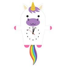 Cartoon Unicorn Pendulum Wall Clock