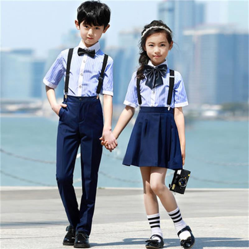 High quality new big boy girl wedding and bow overall suit brand school boy uniform bib pants suit flower boy costume suit