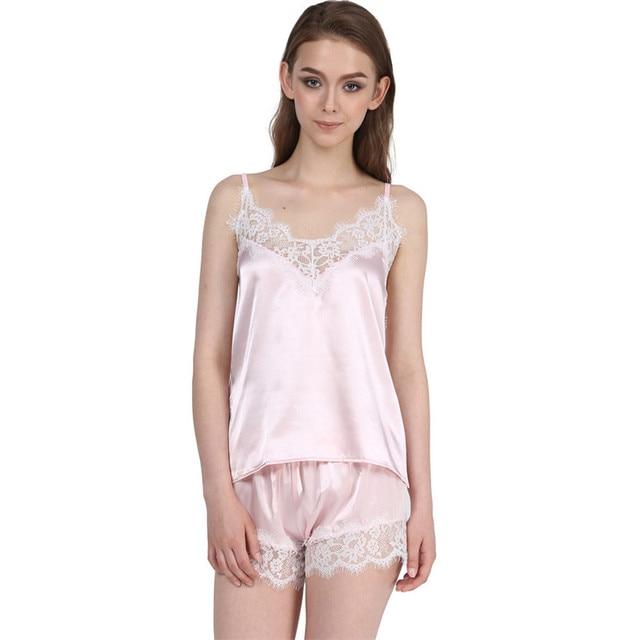 a2fb469f4f5 2018 Upscale Satin Pajamas Set Lace Trim Pijama Short Pant Sexy Cami Bridal  Sleepwear Sets For Women wholesale high quality