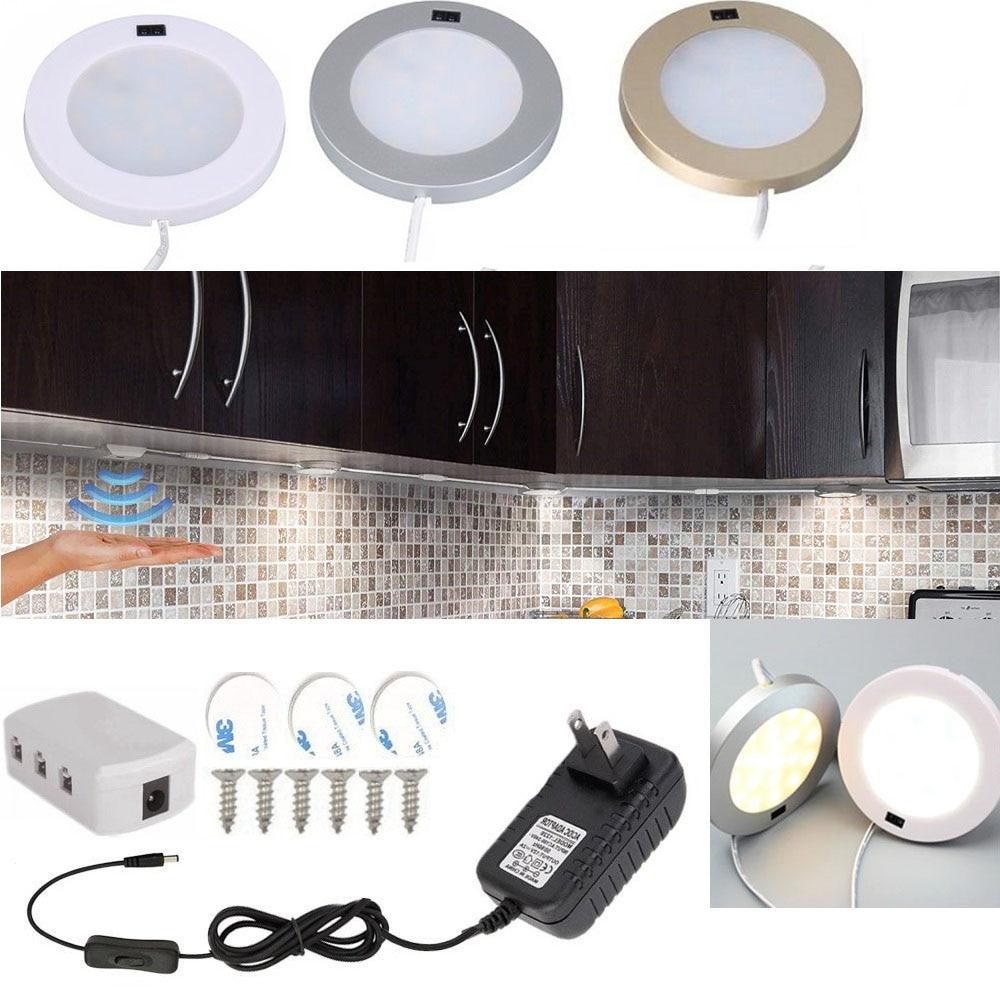Hand Wave LED Kitchen lights Under Cabinet Lighting Kits Infrared Sensor Puck Counter Light DC12V Night Light Bar Showcase lamp