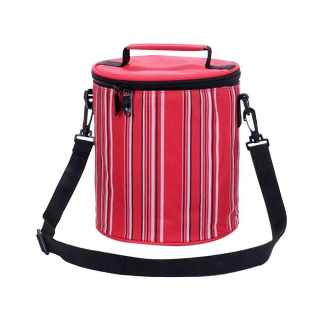 1 Pc Insulated Cylinder Oxford Cloth Lunch Bag Picnic Basket Vertical Stripes Tote for Parties Outdoor Picnic BBQ Holiday