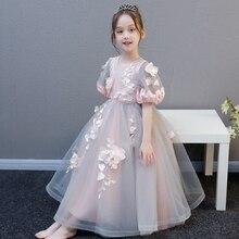 Летнее стильное роскошное платье с цветами для маленьких девочек; Модное Длинное бальное платье принцессы для дня рождения и вечеринки